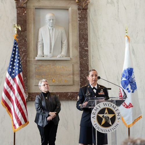 2015 US Army Women's Foundation Hall of Fame Distinguished Flying Cross recipient Inductee SSG Julia Stalker accepting the award for all recipients.